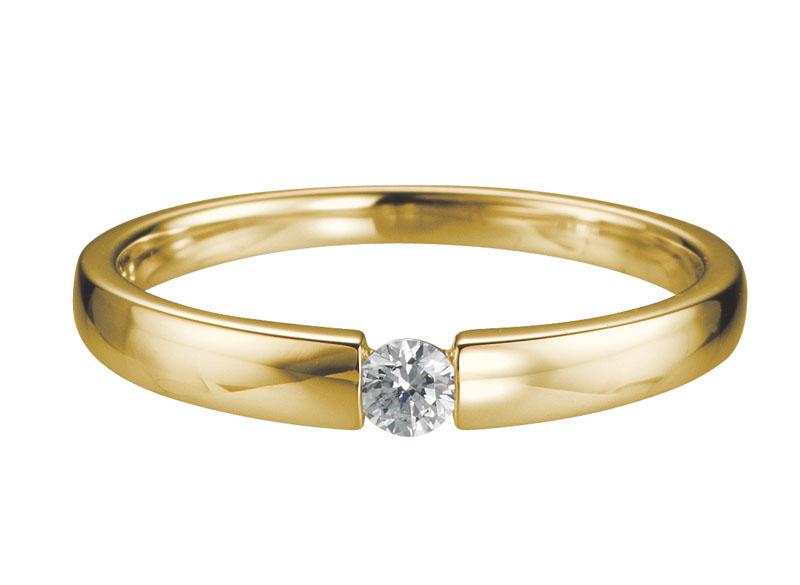 14 karaat gouden Verlovingsring met 0.05ct diamant