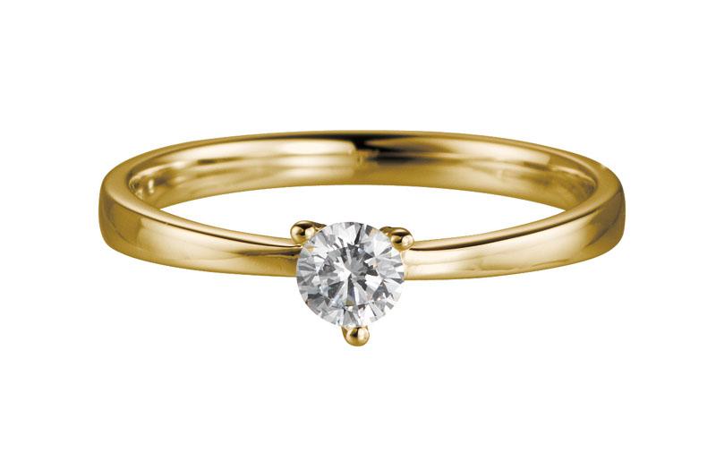 14 karaat gouden aanzoeksring met 0.15ct diamant