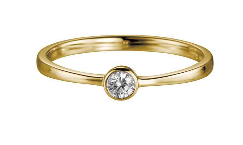14 karaat gouden aanzoeksring met 0.05ct diamant