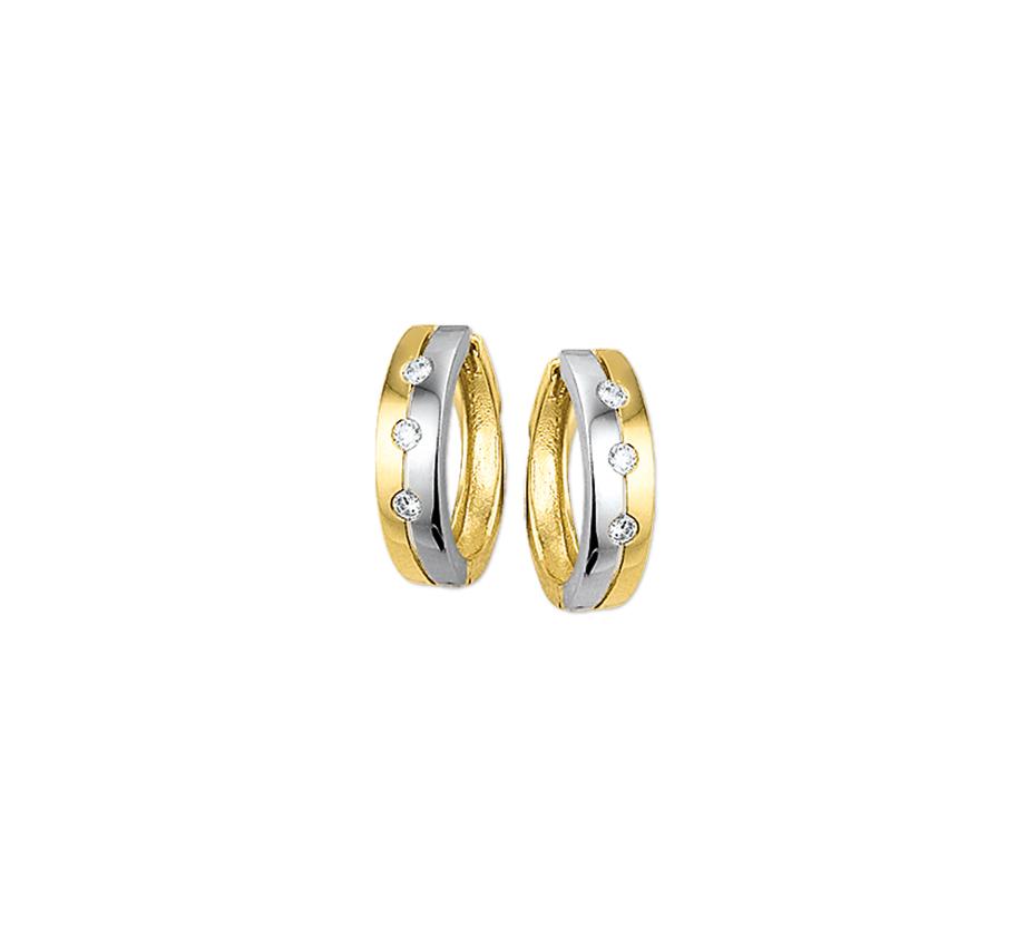 Geelgouden oorbellen met diamant