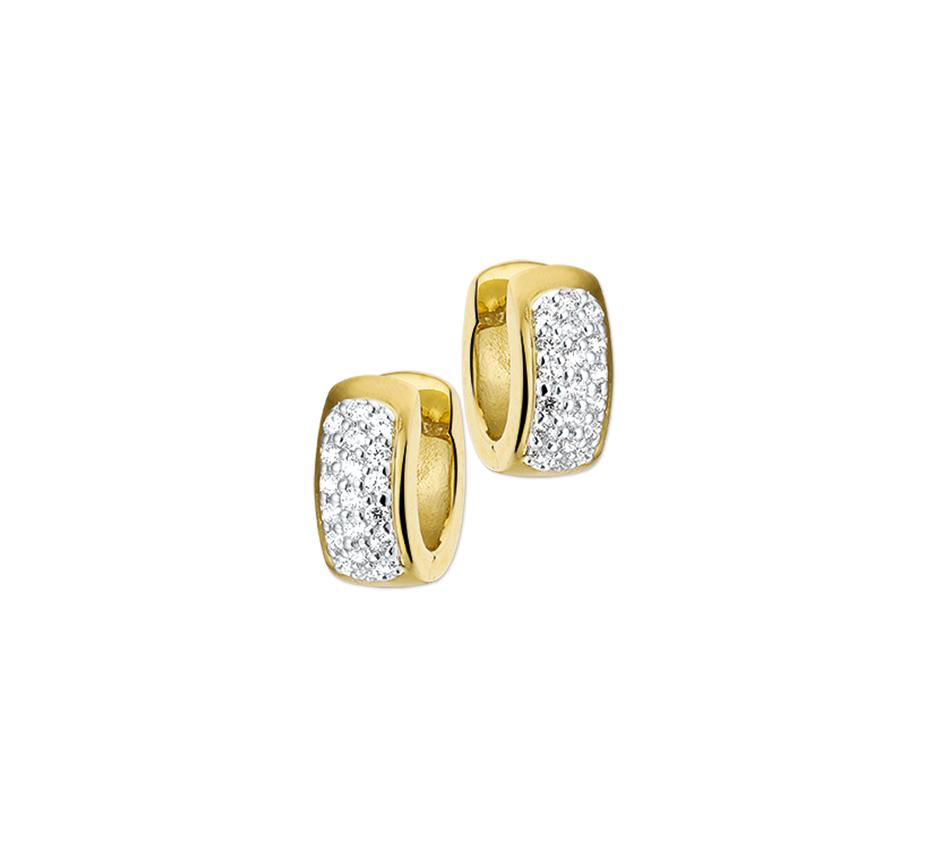 Geelgouden creolen met diamant