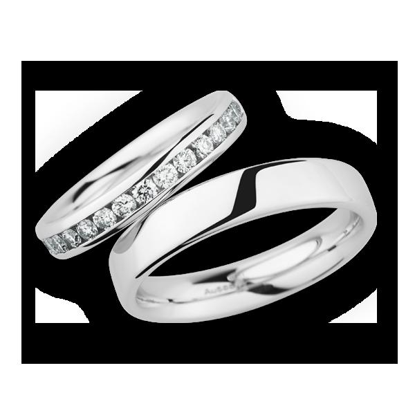 Cristian Bauer witgouden trouwringen met diamant