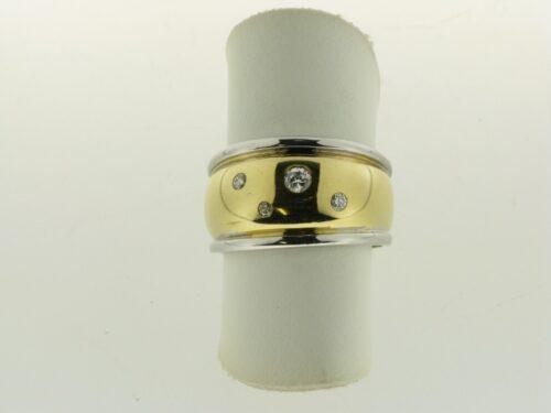 Occasion 14 karaat bicolor ring met diamant