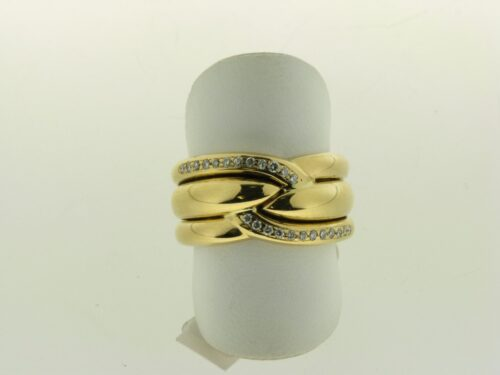 Occasion geelgouden ring met diamant