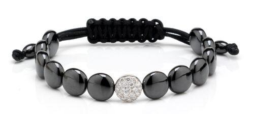 Armband met zwart keramiek en diamant