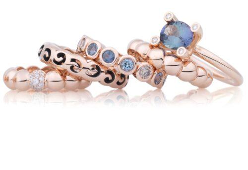 Bron ringen in rosegoud