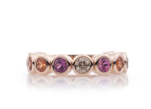 Gouden Bron confetti ring met kleursteen