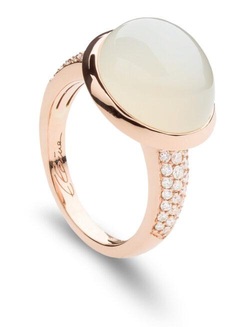 Rosegouden ring met maansteen