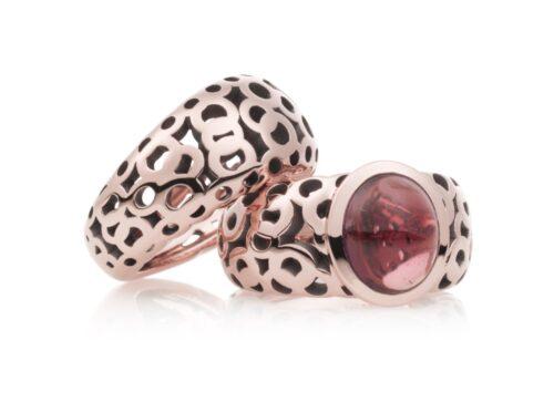 Rosegouden Bron ringen met kleursteen