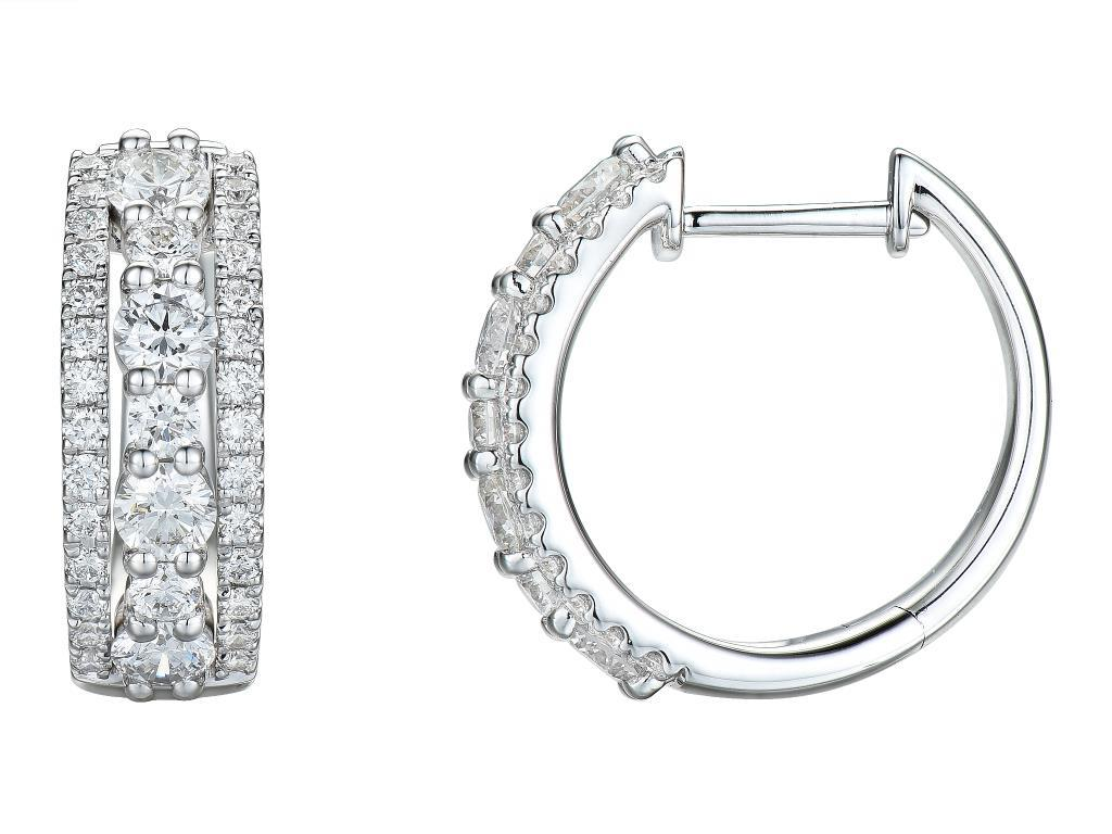 begehrte Auswahl an unverwechselbares Design Gute Preise 14 karaat witgouden creolen met diamant 1.50ct